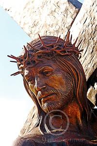 SpMis 00203 Jesus bearing his crucification cross, statuary at Mission San Louis Rey, by Peter J Mancus