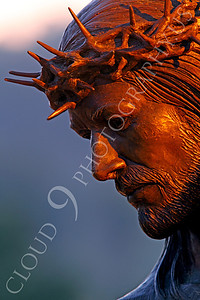 SpMis 00165 A tight crop of Jesus' face and his crown of thorns, statuary at Mission San Louis Rey, by Peter J Mancus