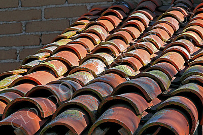 SpMis 00118 Close up of Spanish red tile roofing material at Mission San Juan Capistrano, by Peter J Mancus