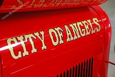 AMER-Auto 00005 Name on an old red City of Angels gas powered fire truck at Angel's Camp Museum, California by Peter J Mancus
