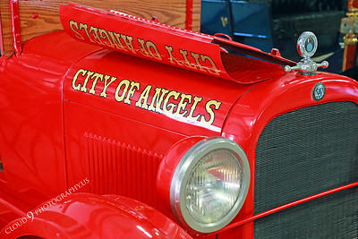 AMER-Auto 00003 Front of an old red City of Angels gas powered fire truck at Angel's Camp Museum, California by Peter J Mancus