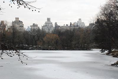 Overlooking the icy lake