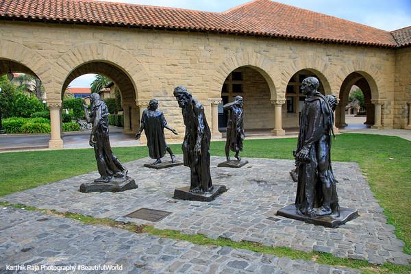 Memorial Court, Burghess of Calais, Rodin, Stanford Campus, University, Palo Alto, California