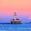 Chicago Harbor Lighthouse, sunset, moon, Lake Michigan, Chicago