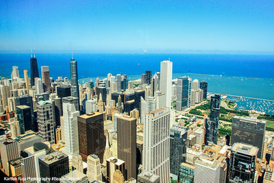 View from Sears Tower, Trump Tower, John Hancock and Lake Michigan, Chicago
