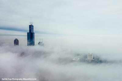 Sears, Willis, Tower, Chicago in the clouds, view from the Aon Center