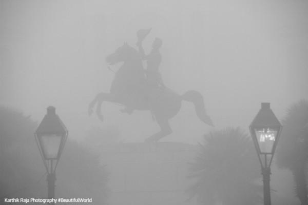 Andrew Jackson Equestrian Statue, Foggy morning, New Orleans, Louisiana