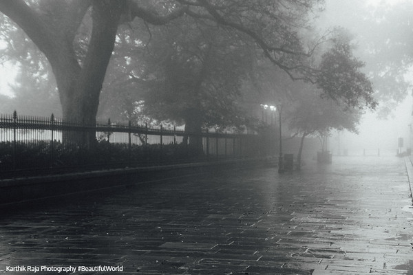 Pirate Alley, Jackson Square, Foggy morning, New Orleans, Louisiana