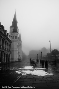 Saint Louis Catholic Cathedral, Foggy morning, Jackson Square cleaning, New Orleans, Louisiana