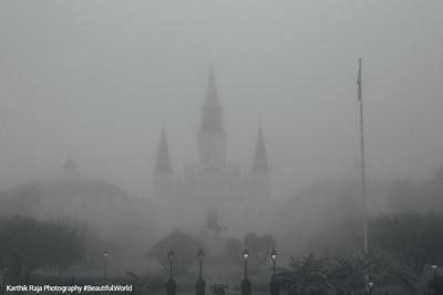 Saint Louis Catholic Cathedral, Jackson Square, Foggy morning, New Orleans, Louisiana