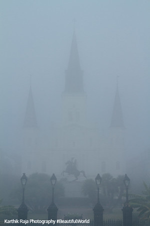 Saint Louis Catholic Cathedral, Foggy morning, New Orleans, Louisiana