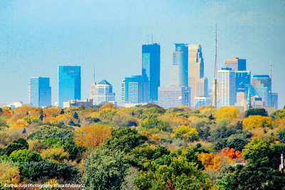 A view of Minneapolis from from the Minnesota State Capitol dome, St.Paul