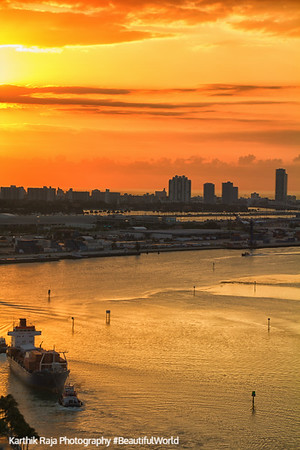 Sunrise, Biscayne Bay and the Port of Miami,