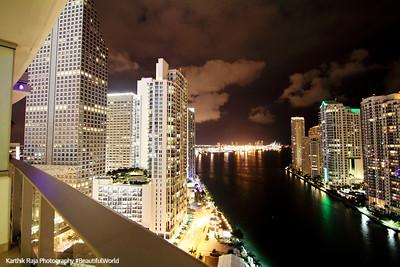 Downtown Miami at night, Florida