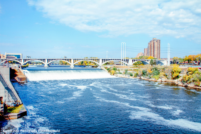 3rd Ave. Bridge, Minneapolis with St. Anthony Falls, Mississippi River