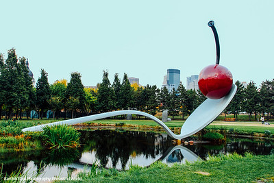 Spoonbridge and Cherry Fountain by Claes Oldenburg and Coosje van Bruggen, Minneapolis Sculpture Garden