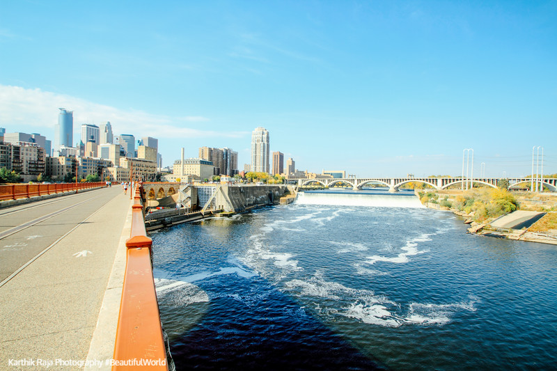 The Mississippi flows past Minneapolis