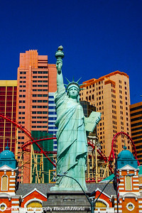 Lady Liberty faces at NY NY, Las Vegas, NV