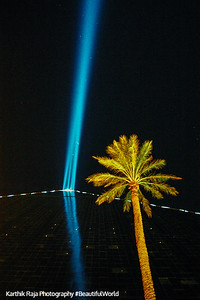 The world's brightest light beam at the Luxor, Las Vegas, NV