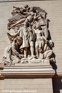 Close up of the statues on the Arc, Paris Hotel, Las Vegas, NV