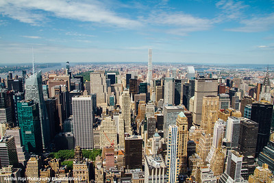 Midtown Manhattan skyline, looking north from the Empire State Building; 432 Park breaks the horizon, New York City