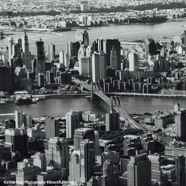 Downtown Manhattan from the sky, Brooklyn Bridge, New York City