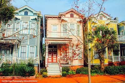 Victorian District, Painted ladies row homes, Savannah, Georgia