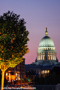 Sunset, Madison Capitol designed by George B.Post & Sons, Madison, Wisconsin
