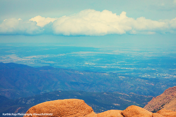 Eye Level with clouds, Pikes Peak, Colorado Springs, Colorado