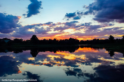 Sunset, Lake, Reflection, Chicago Botanic Gardens