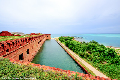 Tower Bastion and moat, Fort Jefferson, Dry Tortugas National Park, Florida