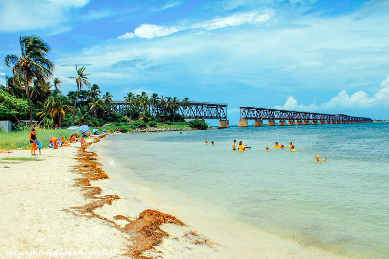 Calusa Beach and Bahia Honda Bridge, Bahia Honda State Park, Bahia Honda Key, Florida Keys