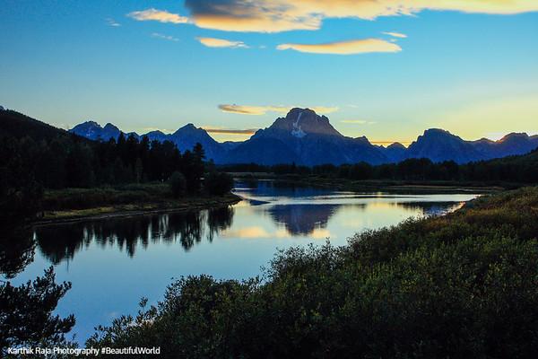 Grand Teton National Park, Wyoming - sunset at Oxbow bend
