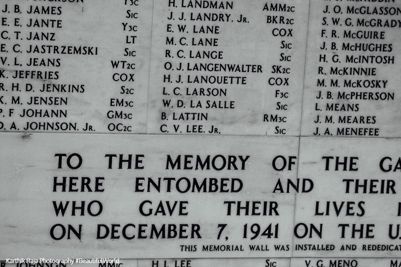 December 7, 1941 - forever etched in memory, Pearl Harbor, Oahu, Hawaii, USA