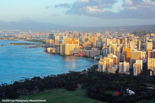 Waikiki and Honolulu from atop Daimond Head, Oahu, Hawaii, USA
