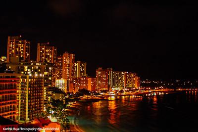 Night view of Waikiki, Oahu, Hawaii, USA