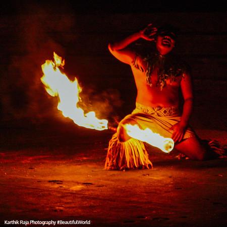 Samoan fire dancers, Polynesian village, Oahu, Hawaii, USA
