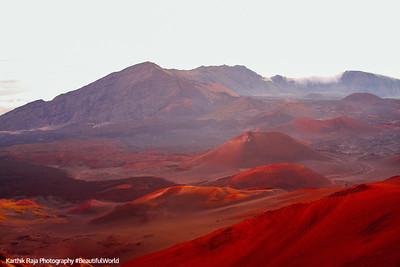 The craters of Haleakala get lit, Haleakala National Park, Maui, Hawaii, USA