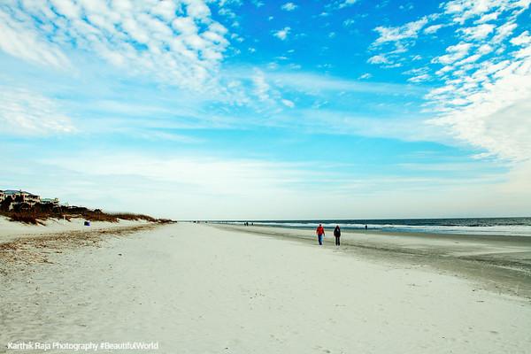Walk on Coligny beach, Atlantic Ocean, Hilton Head Island, South Carolina