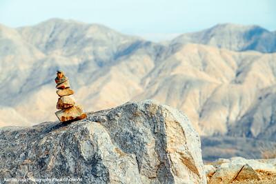 7 Stones arranged, Man vs. Nature, Keys View, Joshua Tree National Park, California