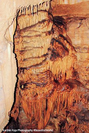 Frozen Niagara calcite formation, New Entrance Tour, Mammoth Cave National Park, Kentucky