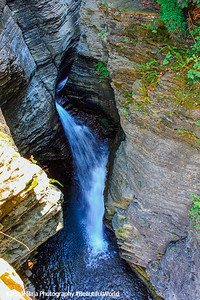 Waterfalls and river forging through, Watkins Glen State Park, NY