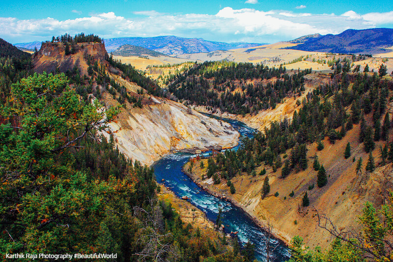 View of the Grand Canyon and Yellowstone River from Calcite Springs Overlook - Yellowstone National Park