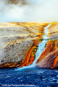 Draining hot water into the Firehole River, Midway Geyser Basin - Yellowstone National Park