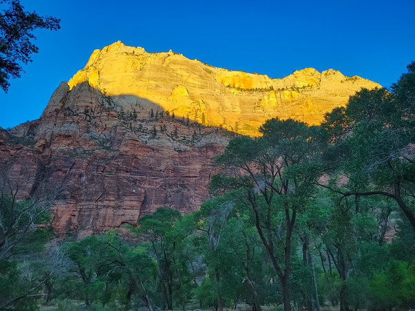 Sunset, Riverside Walk, Temple of Sinawawa, The Narrows, Zion National Park, Utah