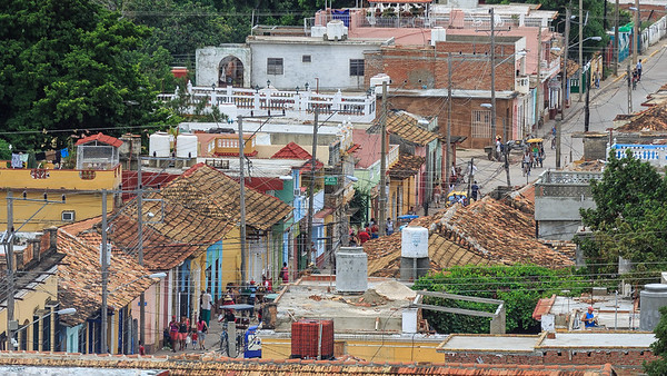streets, people, roofs, Trinidad