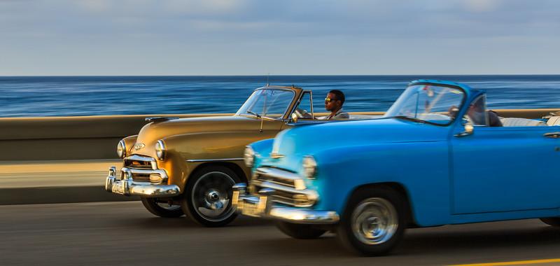Malecón evening, sundown, car, cabriolet, Chevrolet Convertible 1951