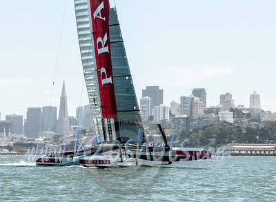 AC 72's Practicing On SF Bay