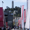 Coit Tower and Telegraph Hill above the America's Cup Park at Piers 26 and 27 on San Francisco's Embarcadero