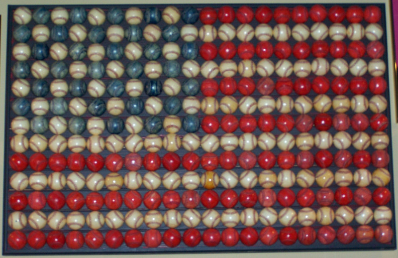 America's Pastime - a flag of baseballs